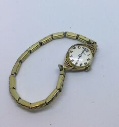 Vintage Watch Bulova Ladies Gold Toned Stainless Back Y792682 Antique Stretch