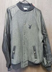 Playboy Mens Xxl 100 Leather And Wool Vintage Letterman Black And Grey Rare