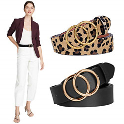 2 Pack Women Belts with Double O Ring Gold Buckle Designer Faux Leather Belt