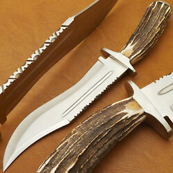 Custom Hand Made D2 Clip Point Blade Bowie Hunting Knife - Stag Antler Handle