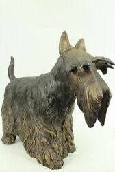 **RARE** MOIGNIEZ FRENCH 100% BRONZE SCOTTISH TERRIER IN STANDING POSE FIGURINE