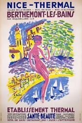 Nice - Thermal Berthemont-les-bains By E Bellini C1960 Large Travel Poster Rare