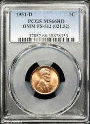 1951-d/s Omm Fs-512 Lincoln Wheat Penny Pcgs Ms66 Red Over Mint Mark R9-8353