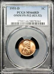 1951-d/s Omm Fs-512 Lincoln Wheat Penny Pcgs Ms66 Red Over Mint Mark R9-8361