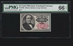 Us 25c Fractional Currency 5th Issue Position 3 F Fr 1308 Pmg 66epq Gem Cu 001