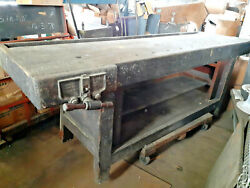 Antique Industrial Woodworker Bench Factory Usa Work Table Architectural Design