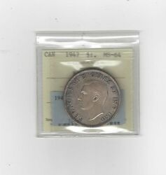 1947 Blunt, Iccs Graded Canadian Silver Dollar Ms-64