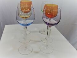 Cordial Apertif Colored Glasses Different Shapes 6 Color Long Stem 8 Tall