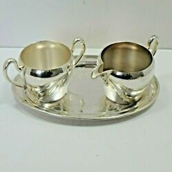 Academy Silver On Copper Etched Tray Set Cream And Sugar