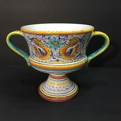 Two Handle Dipinto Lavorato A Mano Hand Painted Dragon Vase