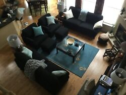 Black Living Room Set Including 2 Sofas 2 Arm Chairs And 2 Ottomans
