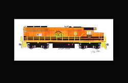 Toledo Peoria And Western Gnwr Gp40 11x17 Matted Print Andy Fletcher Signed