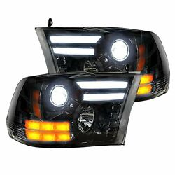 Recon Smoked Projector Headlights Oled Drl For 2014-2018 Dodge Ram 2500 / 3500