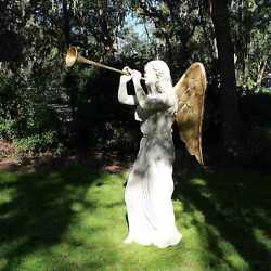 Angel Wings Statue With Gold Leaf Trumpet Faux Marble Life Size