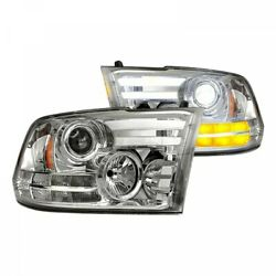 Recon Clear Projector Headlights Oled Drl For 2010-2018 Dodge Ram 2500 / 3500