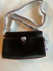 Lodis Vicky Crossbody Style #901AULK BLK. Color Is Black With Red Trim. RFID $45.00