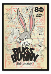 Bugs Bunny Aint I A Stinker Looney Tunes Poster Framed Cork Pin Board With Pins