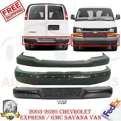 Front Bumper Paintable + Cover + Rear For 2003-20 Chevrolet Express / Gmc Savana