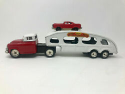 Linemar Deluxe Auto Transport With Two Cars, Friction, Vintage 1960's, Japan