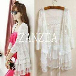 US Stock Women Embroidered Cardigan Lace Crochet Jacket Coat Tops Cover Up Shirt