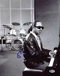 Stevie Wonder Authentic Signed Black And White 11x14 Photo Autographed Bas A09379