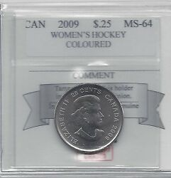 2009 Womenand039s Hockey Colour Coin Mart Graded Canadian 25 Cent Ms-64