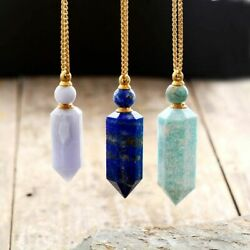 Gems Stone Essential Oil Diffuse Perfume Bottle Pendant Stainless Steel Necklace