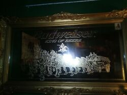 Large Vintage Budweiser Gold Clydesdale Horse Mirror Bar Sign 52 King Of Beers