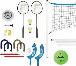 Franklin Sports Combo Set Badminton Volleyball Flip Toss Horse Shoes Flying Disc