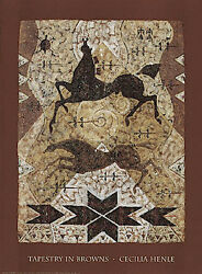 Tapestry In Browns Art Print by Cecilia Henle Horses Native American