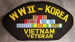 Embroidered Military Patch Combat Veteran Ww2 Korea And Vietnam New Large 5andfrac14x2andfrac34