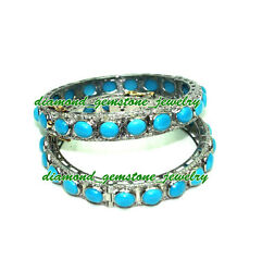925 Sterling Silver Rose Cut Diamond And Turquoise Women Bangle Bracelet Pair