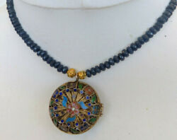Sapphire Necklace With Vintage Chinese Silver Enamel Pendant Perfume Box