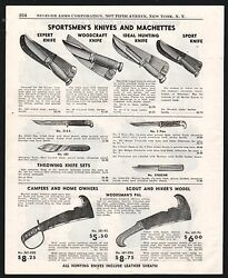 1953 Sportsman's Knife And Machette And Throwing Knives Print Ad 10 Shown