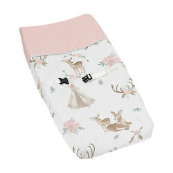 Blush Pink Mint Green White Sweet Jojo Woodland Deer Floral Changing Pad Cover