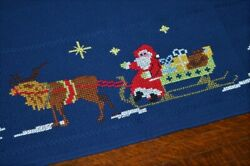 Santa And His Reindeer Plus Frohe Weihnacten Vintage German Christmas Tablecloth