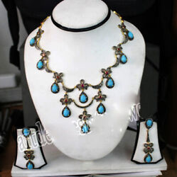 925 Sterling Silver Rose Cut Victorian Look Turquoise Diamond Women Necklace Set