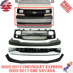 Front Bumper Chrome + Cover Grille Valance For 2003- 2017 Express / Gmc Savana