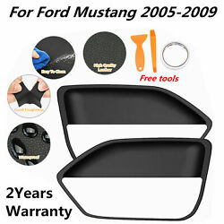 2pcs Leather Door Panel Insert Cards Cover For Ford Mustang 2005-2009 Black