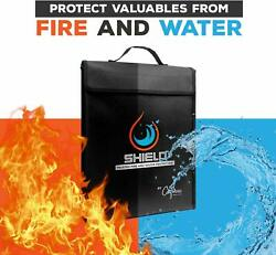 Fireproof Safe Security Box For Valuables, Waterproof And Fireproof Bag 15×11×3