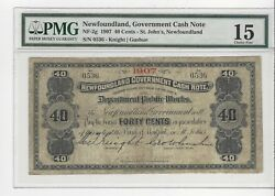 1907 Newfoundland Cash Note Nf-2g Andcent.40 Note Sn 0536 Pmg F-15