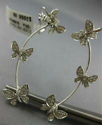Large .63ct Diamond 18kt White Gold Multi Butterfly Ear Climber Hanging Earrings