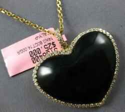 Estate Extra Large 14.80ct Diamond And Aaa Onyx 14k Yellow Gold Heart Love Pendant