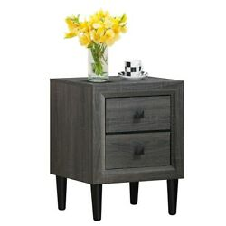 Retro Bedside Nightstand End Table with 2 Storage Drawers Bedroom Furniture US