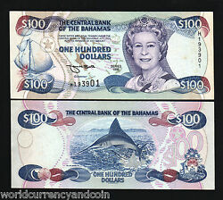 Bahamas 100 Dollars P-62 1996 Queen Blue Marlin Sailing Ship Unc Caribbean Note
