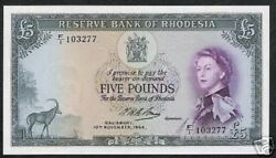 Rhodesia 5 Pounds P-26 1964 Queen Unc Antelope Rare Zimbabwe Currency Money Note