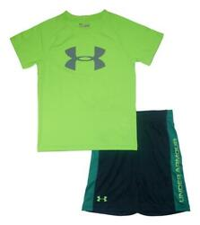 Under Armour Boys SS Fuel Green Dry Fit Logo Top 2pc Short Set Size 5
