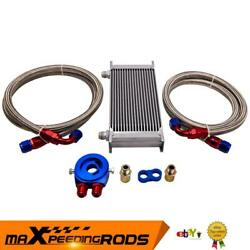 19 Row Thermostat Adaptor Engine Racing Oil Cooler Kit For Car/truck Silver New