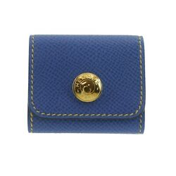 Authentic Hermes Sticky Note Case Blue Leather F01280