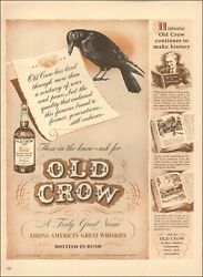 1940's Vintage Ad For Old Crow`retro Art Bottle Black Crow Whiskey   022620